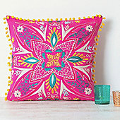 Suzani Embroidered Suzani Square Cushion - Pink
