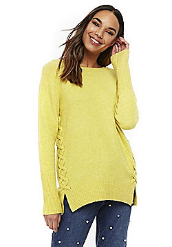 Wallis Lace-Up Detail Jumper - Yellow