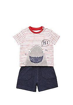 F&F Shark Print T-Shirt and Sweat Shorts Set - Multi