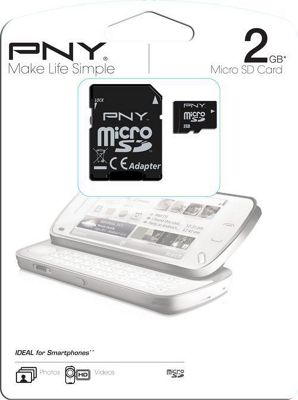 PNY 2GB MICRO SD CLASS 4 INC SD ADAPTOR- Same day shipping before 2.00pm. Ships from a VAT Reg Company.