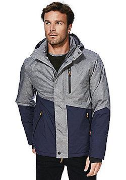 F&F Active Panelled Waterproof Ski Jacket - Grey & Blue