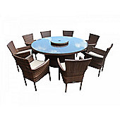 Cambridge 8 Non-Reclining Chairs And Large Round Table And Lazy Susan Set in Chocolate Mix and Coffee Cream