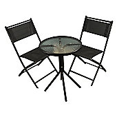 Metal Garden Bistro Set with Black Textoline Folding Chairs
