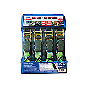 Faithfull Ratchet Tie-Downs (4) 5M x 25mm Green