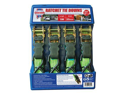 Faithfull Ratchet Tie-Downs (4) 5M x 25mm Green