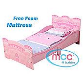 Pink Castle Princess Junior Toddler Kids Bed & Free Mattress Made in UK