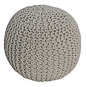 Homescapes Natural Knitted Cotton Pouffe Footstool Round 35 x 40 cm