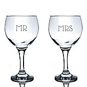 Rink Drink Engraved Spanish Wedding Gin Balloon Glasses - Mr and Mrs - 645ml - Set of 2