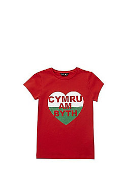 F&F Active Cymru Am Byth Short Sleeve T-Shirt - Red