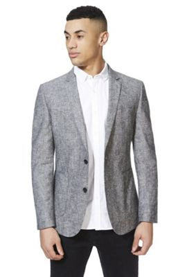F&F Linen-Blend Chambray Regular Fit Blazer Jacket Grey 38 Chest regular length