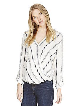 F&F Striped Wrap Front Bubble Hem Crinkle Top - White & Blue