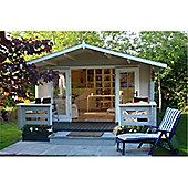 4m x 3m (13ft x 10ft) Amersham Home Office Log Cabin Wooden Log Cabin - Double Glazing (34mm Wall Thickness)