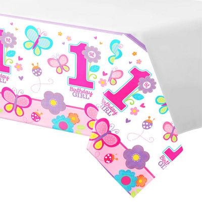 Sweet Girl 1st Birthday Tablecover - 2.6m