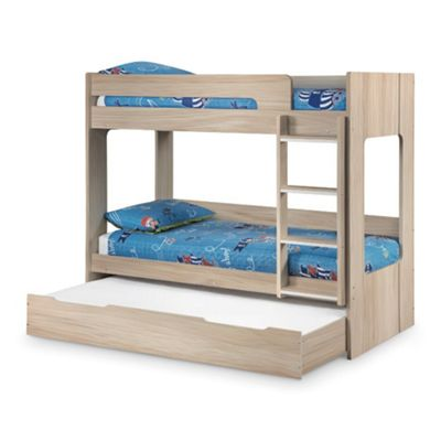 Happy Beds Ellie Wood Kids Bunk Bed and Underbed Trundle Guest Bed with 3 Pocket Spring Mattresses - Oak - 3ft Single