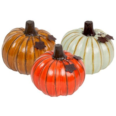 Set of Three Large Ceramic Pumpkin Ornaments