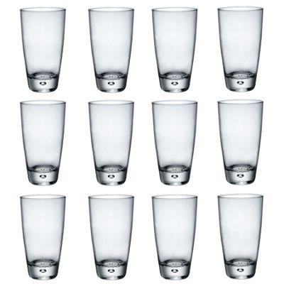 Bormioli Rocco Luna Clear Bubble Base Highball Cocktail Glasses - 340ml - Pack of 12