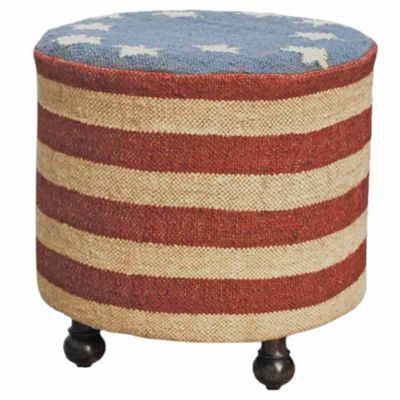 Homescapes Kilim Upholstered USA Stars and Stripes Solid Wood Round Stool