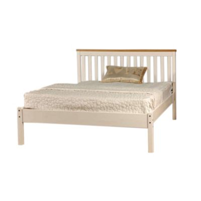Comfy Living 4ft6 Double Slatted Low end Bed Frame in White with Caramel Bar & Basic Budget Mattress