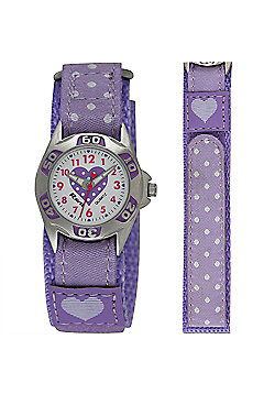 Girls Lilac Polka Dot Velcro Strap Watch
