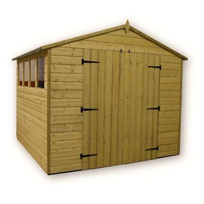 8 x 8 Maldon Premier Pressure Treated T&G Apex Shed + 4 Windows + Higher Eaves & Ridge Height + Double Doors (8ft x 8ft)