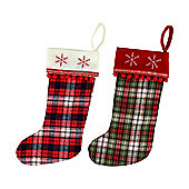 Set of 2 Red & Green Tartan Fabric 40cm Christmas Stockings