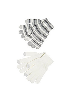 F&F 2 Pack of Striped and Plain Touch Screen Gloves - Cream & Grey