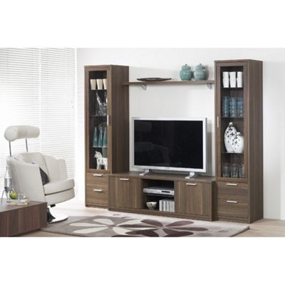 Tvilum Viiwa Wooden Entertainment Center with Metal Handles - White