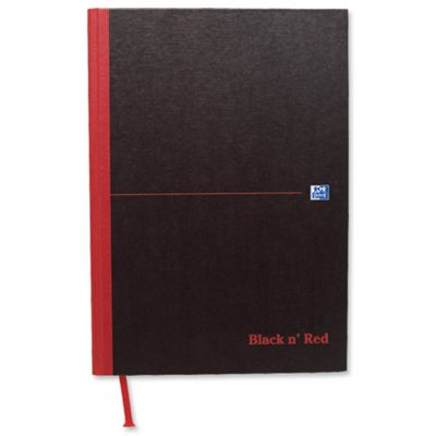 Black n Red Casebound Manuscript Book 192 Pages A4 Single Cash 100080537 (5 Pack)