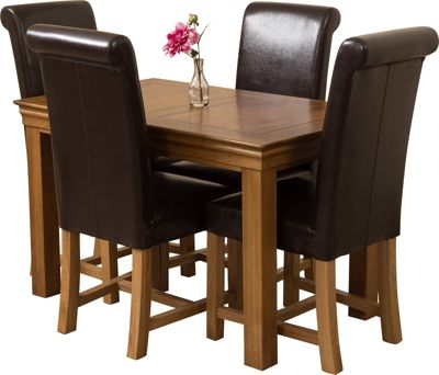 French Chateau Rustic Solid Oak 120 cm Dining Table with 4 Brown Washington Chairs