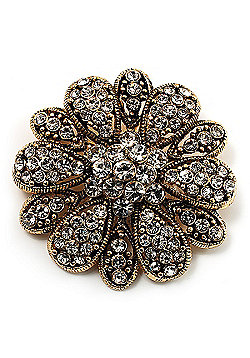 Vintage Swarovski Crystal Floral Brooch (Antique Gold)