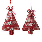 Pack of 2 Tartan Hanging Tree Ornaments
