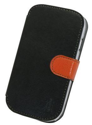 Tortoise™ Look Faux Leather Folio Case Samsung Galaxy SIII Mini Black