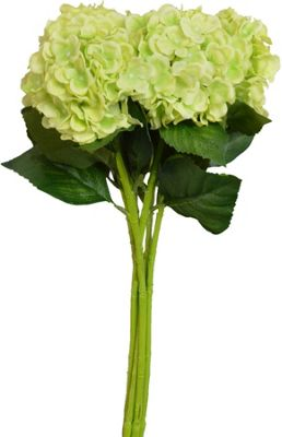 Artificial Long Single Stem Hydrangea Flowers In Green - 55cm - Bunch Of 6 Stems
