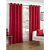 Hamilton McBride Faux Silk Lined Eyelet Red Curtains - 90x90 Inches (229x229cm)