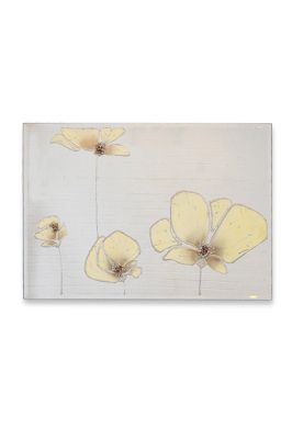 Large Quad Cream Poppies Framless Glass Wall Mirror 3Ft11 X 2Ft8 (120 X 80Cm)