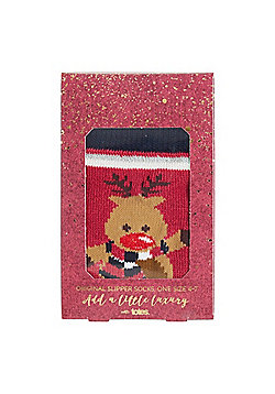 Totes Reindeer Slipper Socks - Pink
