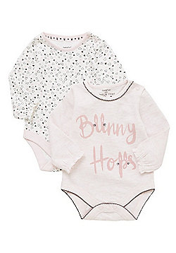 F&F 2 Pack of Bunny Slogan and Heart Print Long Sleeve Bodysuits - Pink
