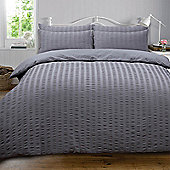 Highams Seersucker Duvet Cover with Pillowcase Bedding Set Silver White Charcoal - Charcoal