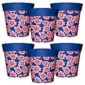 6 x 22cm Blue & Pink Floral Plastic Garden Planter 5L Flowerpot by Hum