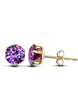 Jewelco London 9ct Yellow Gold studs claw-set with 5mm Solitaire purple CZ stone