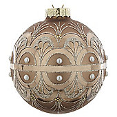 Brown Pearl and Bead Glass Christmas Bauble