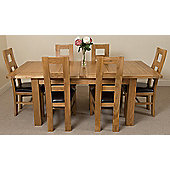 Seattle Extending Kitchen Solid Oak Dining Table + 6 Solid Oak Leather Chairs