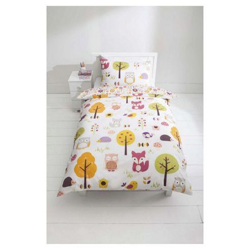 Tesco Kids 100% Cotton Woodland Print Duvet Cover Set Single