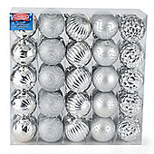 Christow 50 Luxury Christmas Baubles - Silver