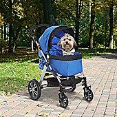 PawHut Dog Carrier Travel Pushchair w/ Four Wheels + Waterproof Oxford Cloth (Blue)