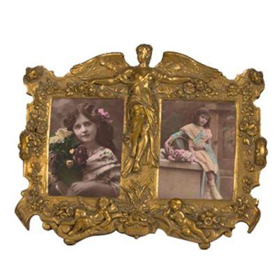 Art Nouveau Double Photo Frame Gold Gilt Leaf Width: 31cm