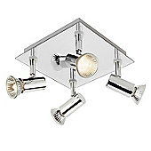 Square 4 Way Ceiling Spotlight, Chrome