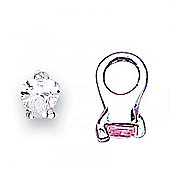 Jo For Girls Silver and Pink CZ Ring Slide On Bead