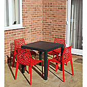 Brackenstyle Madrid Table and 4 Rosso Red Neptune Chairs - Seats 4