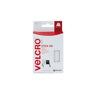 Velcro Stick On Tape 1m x 20mm White